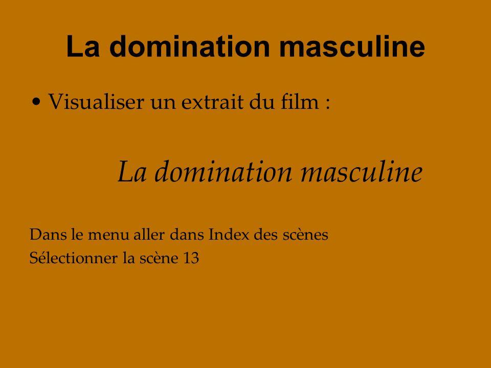 La domination masculine Visualiser un extrait du film : La domination masculine Dans le menu aller dans Index des scènes Sélectionner la scène 13