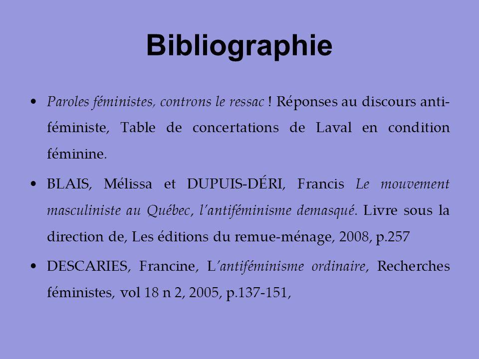 Bibliographie Paroles féministes, controns le ressac ! Réponses au discours anti- féministe, Table de concertations de Laval en condition féminine. BL