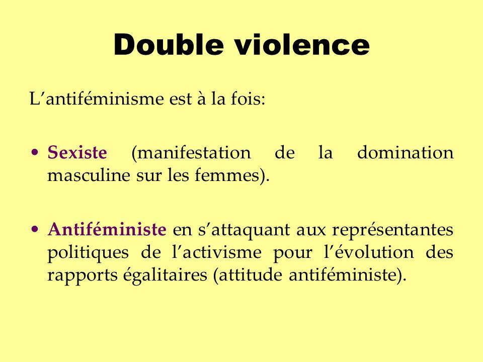 Double violence Lantiféminisme est à la fois: Sexiste (manifestation de la domination masculine sur les femmes). Antiféministe en sattaquant aux repré