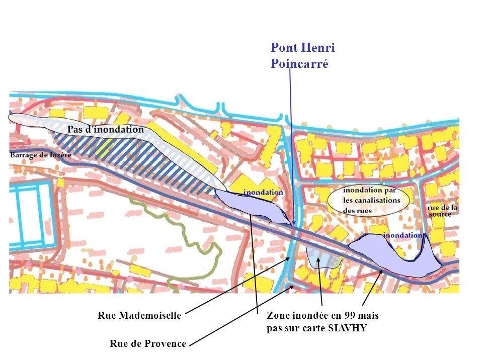 Pont Henri Poincarré Zone inondée en 99 mais pas sur carte SIAVHY Rue Mademoiselle Rue de Provence