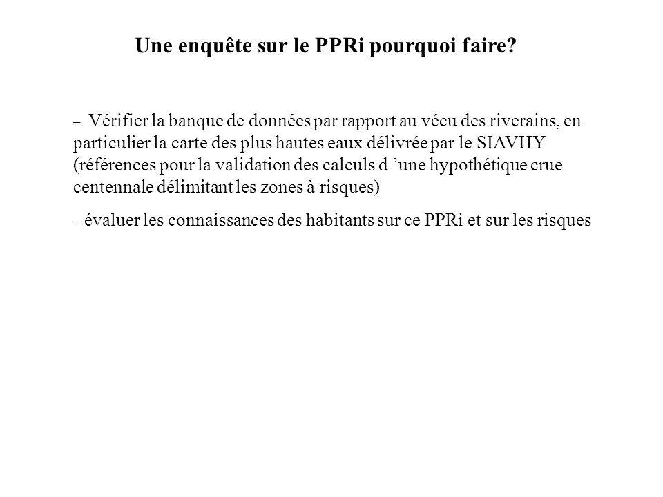 Une enquête sur le PPRi pourquoi faire? – Vérifier la banque de données par rapport au vécu des riverains, en particulier la carte des plus hautes eau