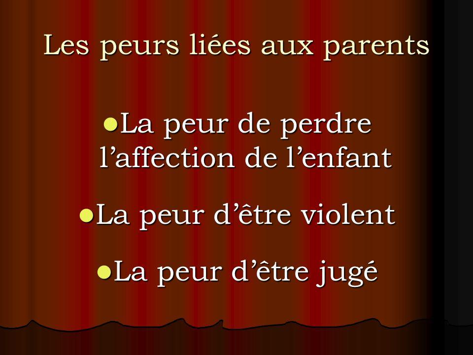 Les peurs liées aux parents La peur de perdre laffection de lenfant La peur de perdre laffection de lenfant La peur dêtre violent La peur dêtre violen