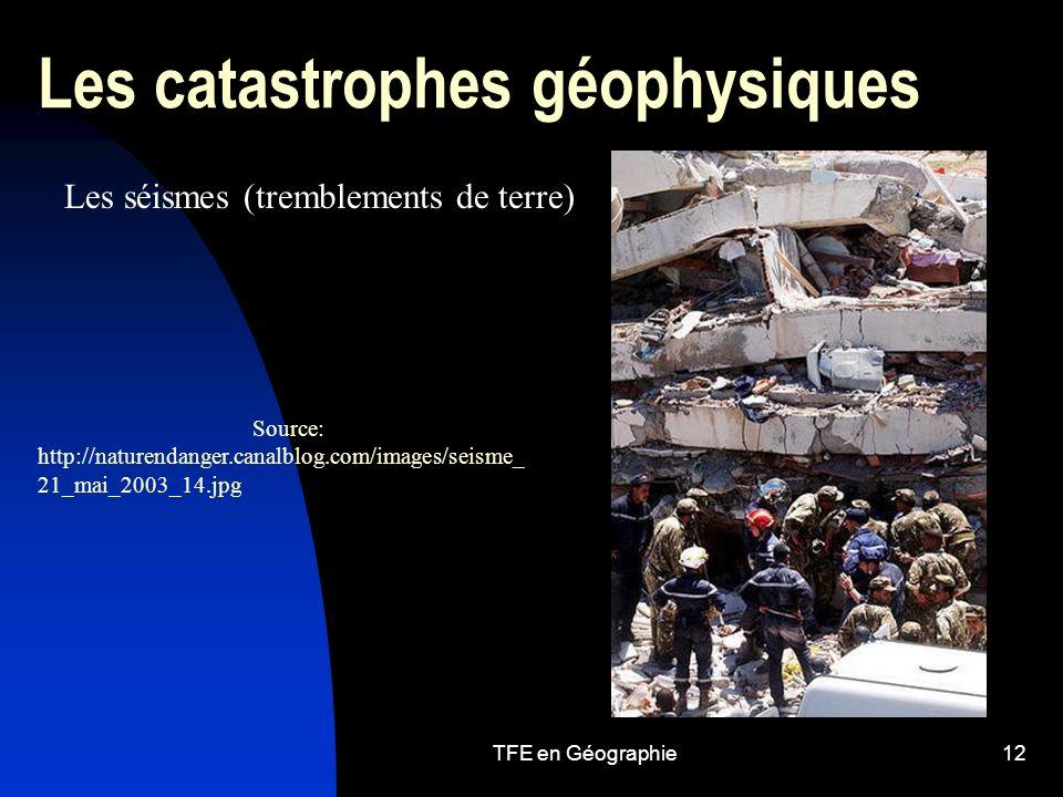 TFE en Géographie12 Les catastrophes géophysiques Les séismes (tremblements de terre) Source: http://naturendanger.canalblog.com/images/seisme_ 21_mai_2003_14.jpg