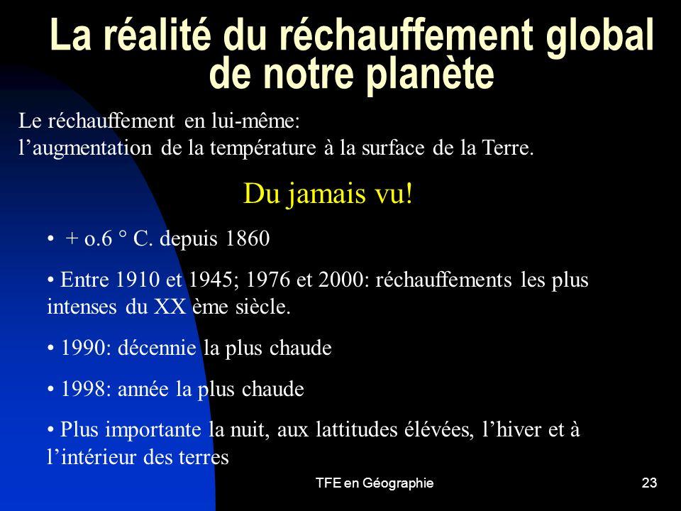 TFE en Géographie23 La réalité du réchauffement global de notre planète Le réchauffement en lui-même: laugmentation de la température à la surface de la Terre.