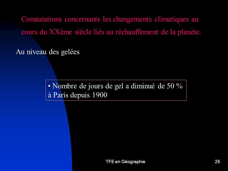 TFE en Géographie25 Constatations concernants les changements climatiques au cours du XXème siècle liés au réchauffement de la planète.