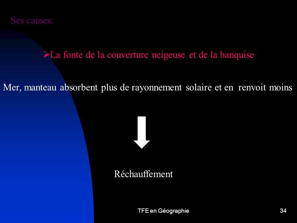 TFE en Géographie34 La fonte de la couverture neigeuse et de la banquise Mer, manteau absorbent plus de rayonnement solaire et en renvoit moins Réchauffement Ses causes: