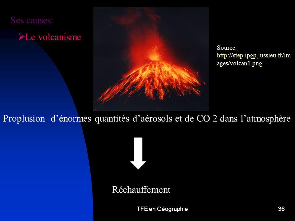 TFE en Géographie36 Le volcanisme Proplusion dénormes quantités daérosols et de CO 2 dans latmosphère Réchauffement Source: http://step.ipgp.jussieu.fr/im ages/volcan1.png Ses causes: