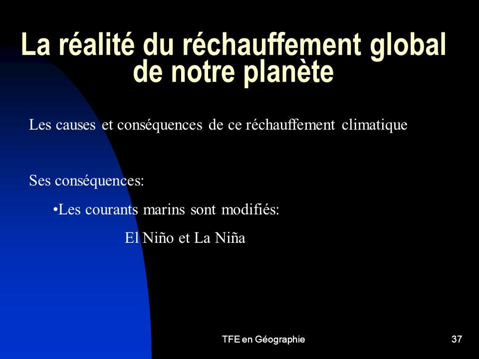 TFE en Géographie37 La réalité du réchauffement global de notre planète Les causes et conséquences de ce réchauffement climatique Ses conséquences: Les courants marins sont modifiés: El Niño et La Niña