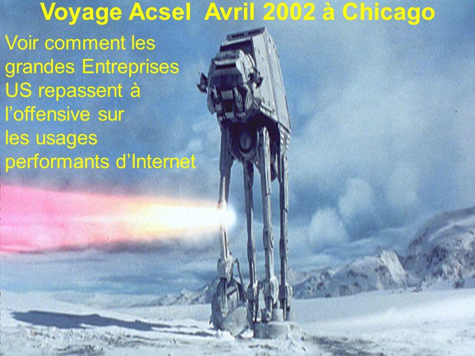 Voir comment les grandes Entreprises US repassent à loffensive sur les usages performants dInternet Voyage Acsel Avril 2002 à Chicago