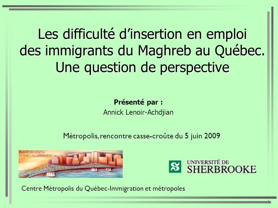 Les difficulté dinsertion en emploi des immigrants du Maghreb au Québec. Une question de perspective Présenté par : Annick Lenoir-Achdjian 1 Centre Mé