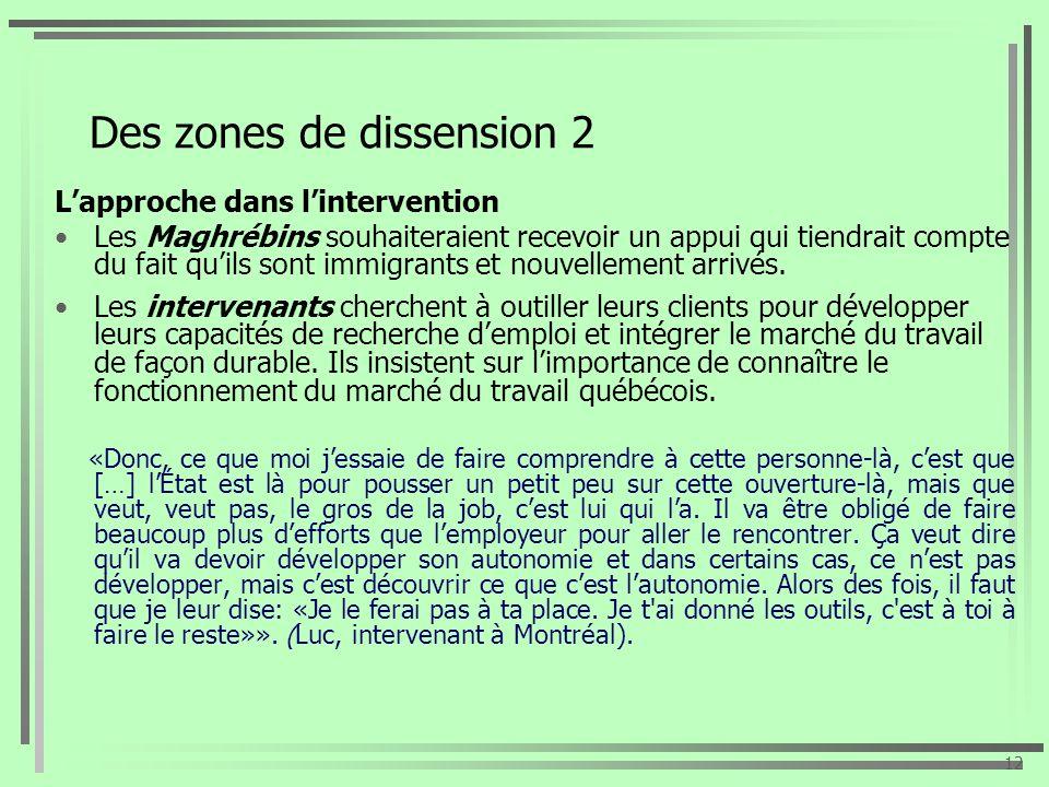 Des zones de dissension 2 Lapproche dans lintervention Les Maghrébins souhaiteraient recevoir un appui qui tiendrait compte du fait quils sont immigra