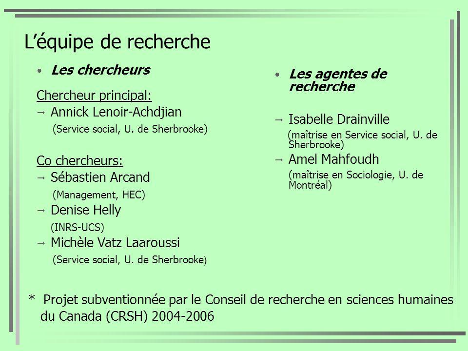 Léquipe de recherche Les chercheurs Chercheur principal: Annick Lenoir-Achdjian (Service social, U. de Sherbrooke) Co chercheurs: Sébastien Arcand (Ma