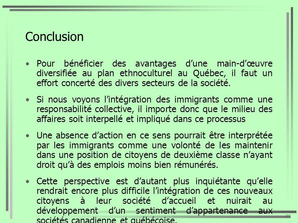 Conclusion Pour bénéficier des avantages dune main-dœuvre diversifiée au plan ethnoculturel au Québec, il faut un effort concerté des divers secteurs