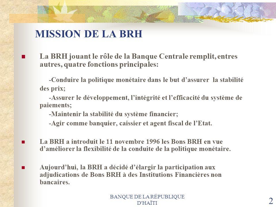 BANQUE DE LA RÉPUBLIQUE D'HAÏTI 2 MISSION DE LA BRH La BRH jouant le rôle de la Banque Centrale remplit, entres autres, quatre fonctions principales: