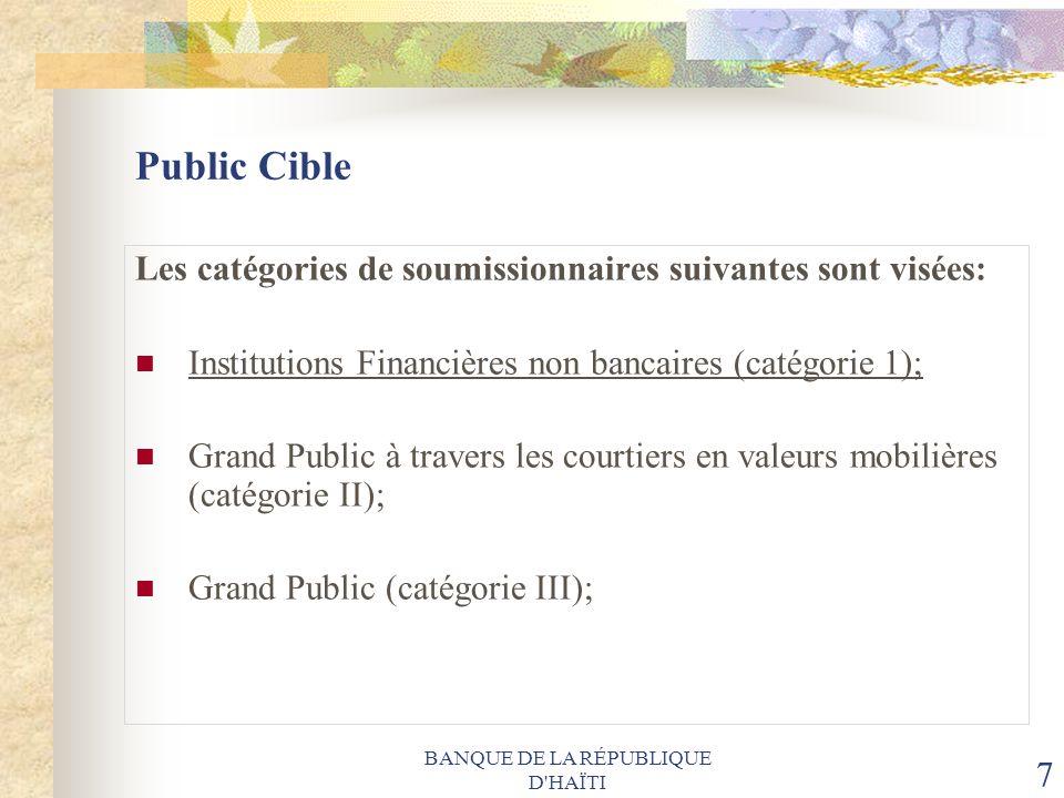 BANQUE DE LA RÉPUBLIQUE D'HAÏTI 7 Public Cible Les catégories de soumissionnaires suivantes sont visées: Institutions Financières non bancaires (catég