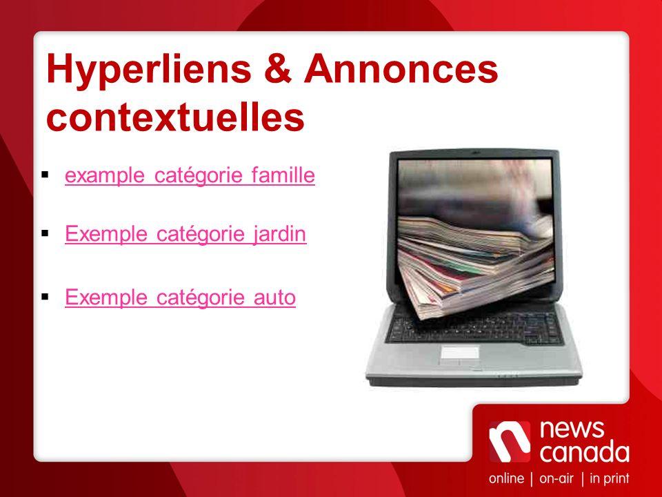 Hyperliens & Annonces contextuelles example catégorie famille Exemple catégorie jardin Exemple catégorie auto