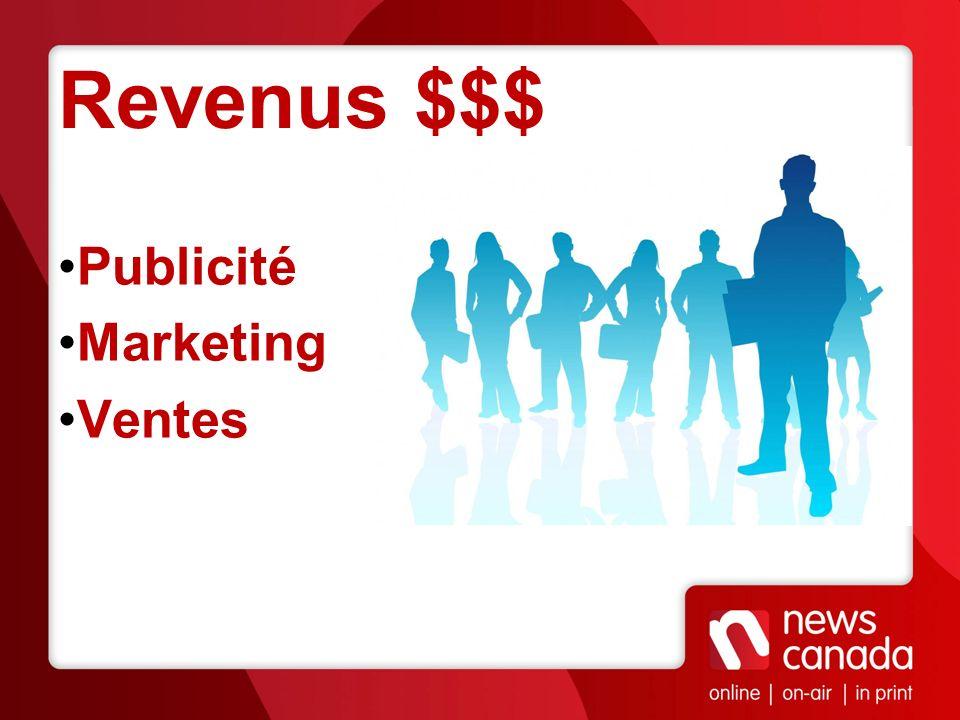 Revenus $$$ Publicité Marketing Ventes