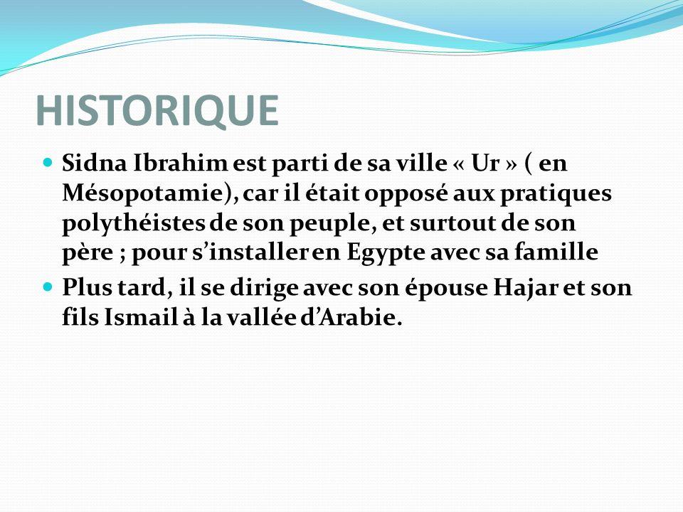 HISTORIQUE Sidna Ibrahim est parti de sa ville « Ur » ( en Mésopotamie), car il était opposé aux pratiques polythéistes de son peuple, et surtout de s