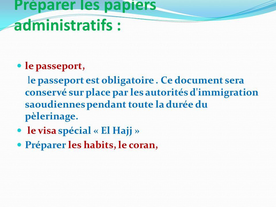 Préparer les papiers administratifs : le passeport, le passeport est obligatoire. Ce document sera conservé sur place par les autorités d'immigration