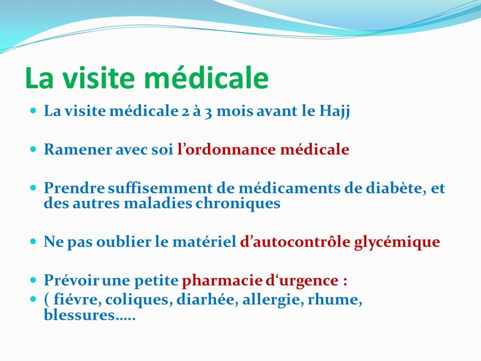 La visite médicale La visite médicale 2 à 3 mois avant le Hajj Ramener avec soi lordonnance médicale Prendre suffisemment de médicaments de diabète, e