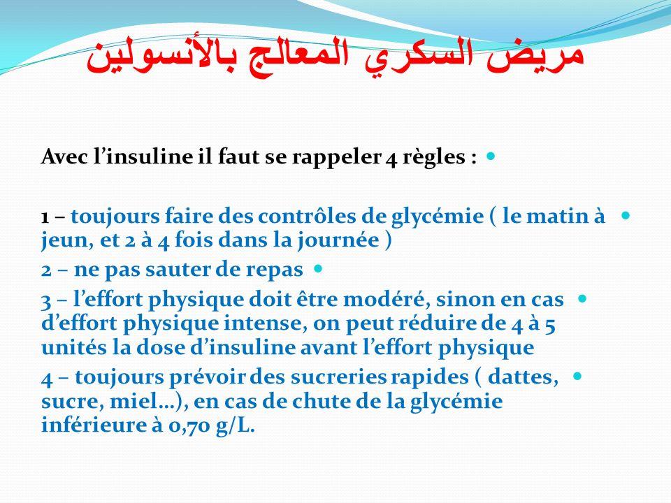 Avec linsuline il faut se rappeler 4 règles : 1 – toujours faire des contrôles de glycémie ( le matin à jeun, et 2 à 4 fois dans la journée ) 2 – ne p