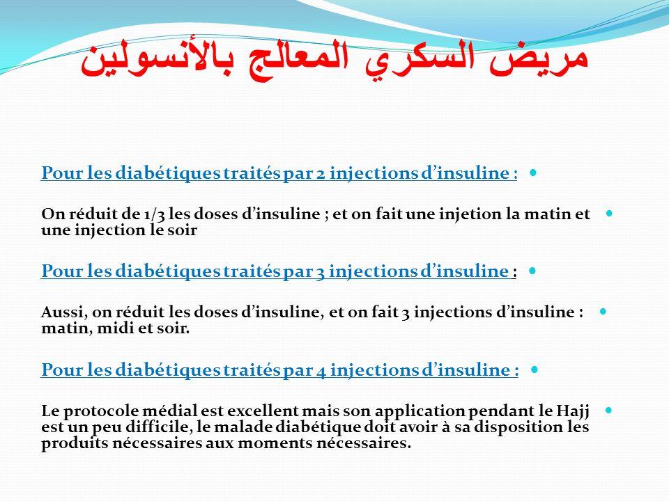 Pour les diabétiques traités par 2 injections dinsuline : On réduit de 1/3 les doses dinsuline ; et on fait une injetion la matin et une injection le