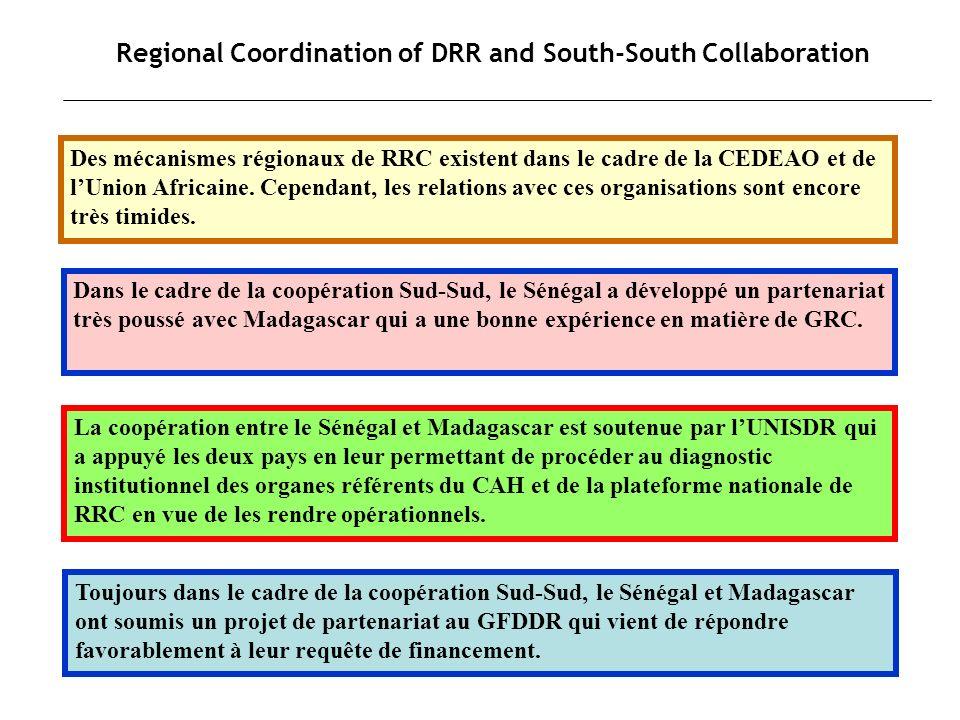 Regional Coordination of DRR and South-South Collaboration Des mécanismes régionaux de RRC existent dans le cadre de la CEDEAO et de lUnion Africaine.