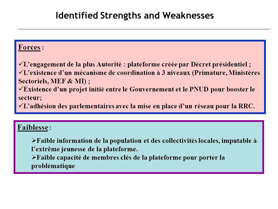 Identified Strengths and Weaknesses Forces : Lengagement de la plus Autorité : plateforme créée par Décret présidentiel ; Lexistence dun mécanisme de