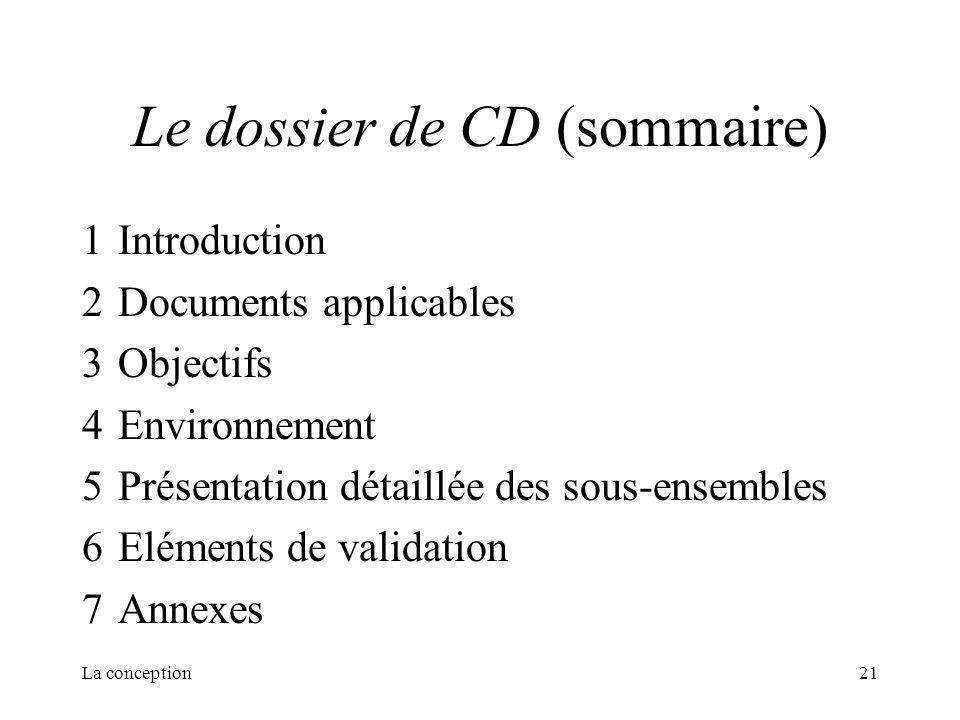 La conception21 Le dossier de CD (sommaire) 1Introduction 2Documents applicables 3Objectifs 4Environnement 5Présentation détaillée des sous-ensembles