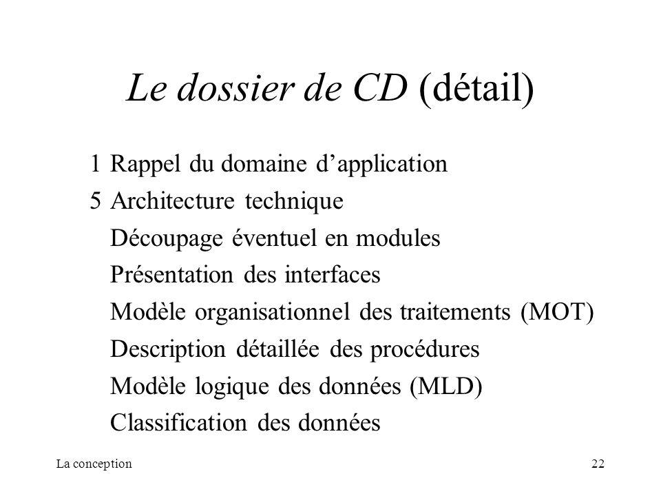 La conception22 Le dossier de CD (détail) 1Rappel du domaine dapplication 5Architecture technique Découpage éventuel en modules Présentation des inter