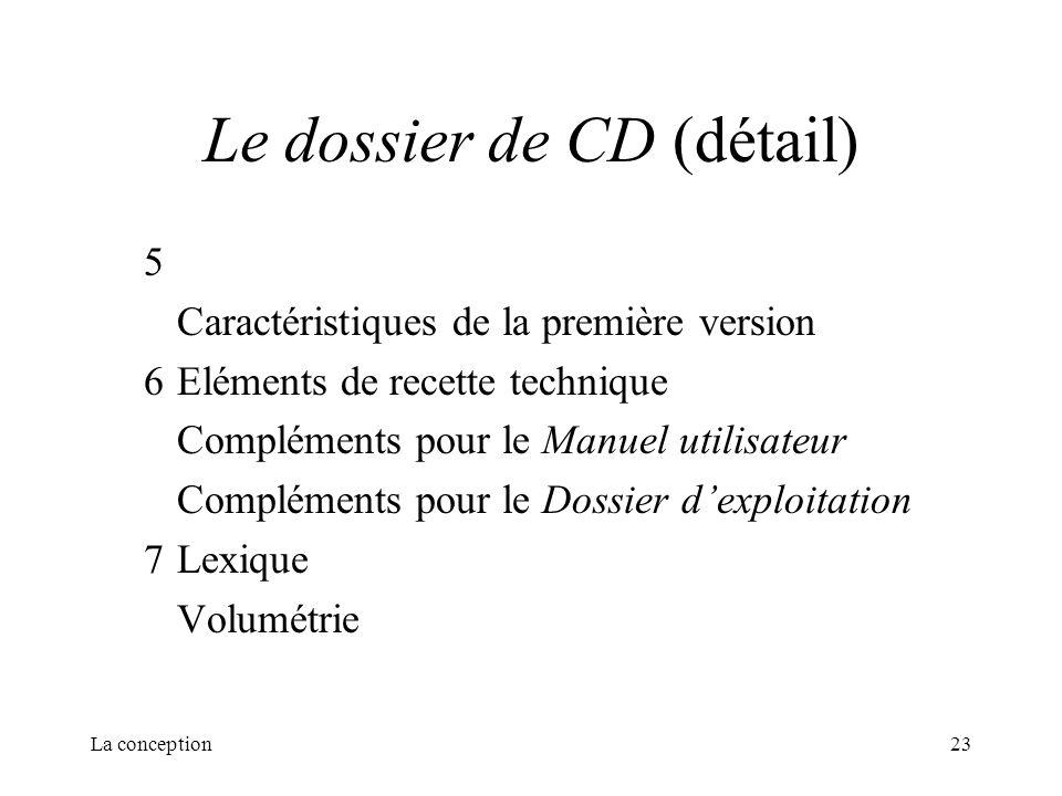 La conception23 Le dossier de CD (détail) 5 Caractéristiques de la première version 6Eléments de recette technique Compléments pour le Manuel utilisat