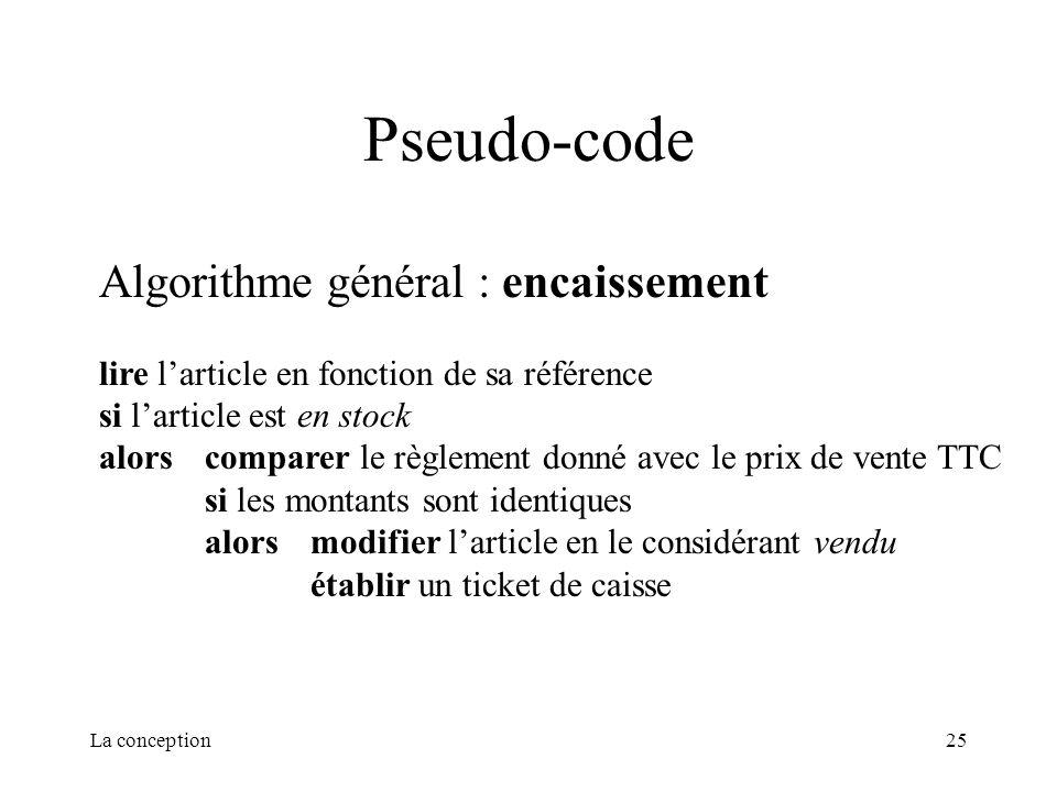 La conception25 Pseudo-code Algorithme général : encaissement lire larticle en fonction de sa référence si larticle est en stock alorscomparer le règl