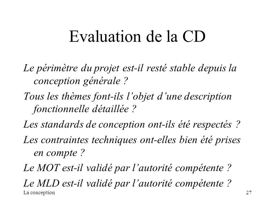 La conception27 Evaluation de la CD Le périmètre du projet est-il resté stable depuis la conception générale ? Tous les thèmes font-ils lobjet dune de