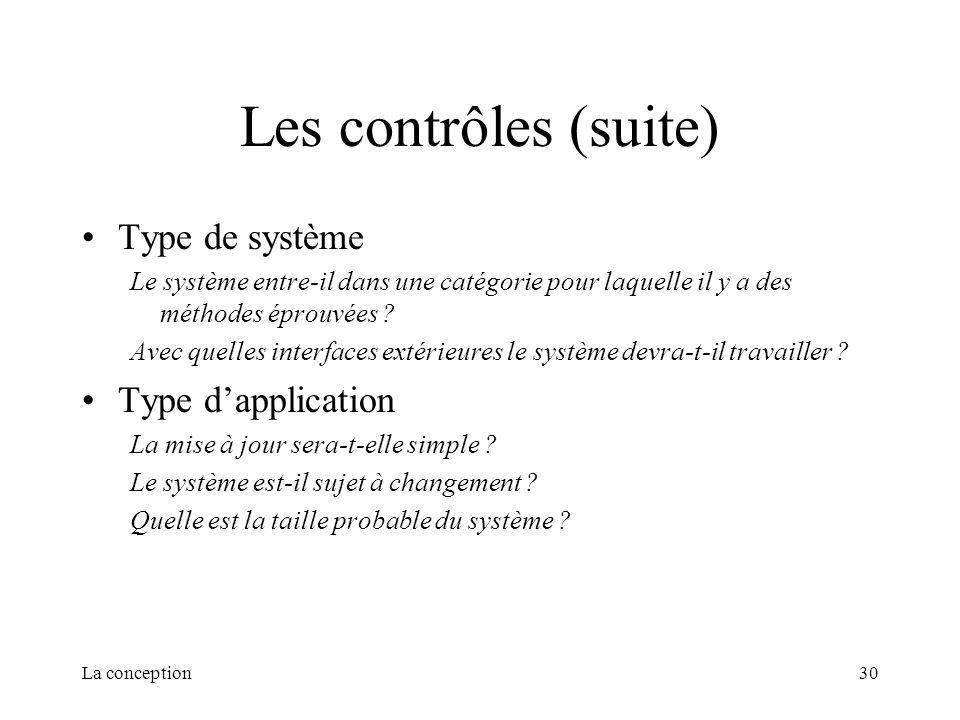 La conception30 Les contrôles (suite) Type de système Le système entre-il dans une catégorie pour laquelle il y a des méthodes éprouvées ? Avec quelle