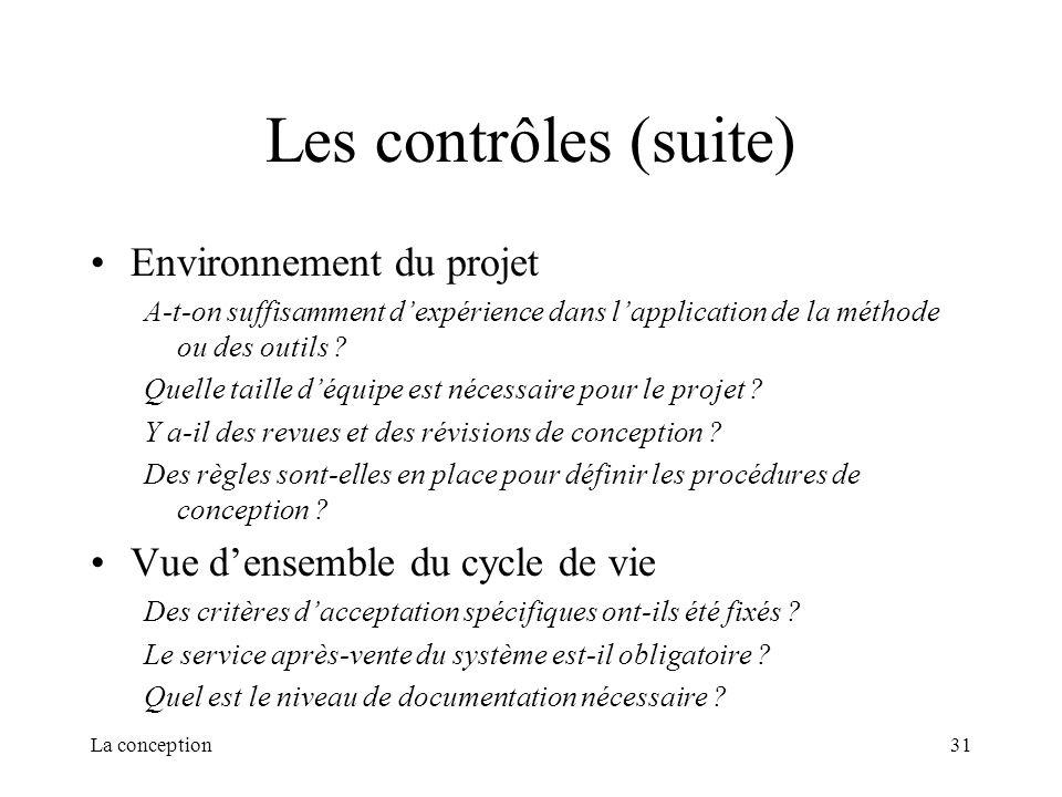 La conception31 Les contrôles (suite) Environnement du projet A-t-on suffisamment dexpérience dans lapplication de la méthode ou des outils ? Quelle t