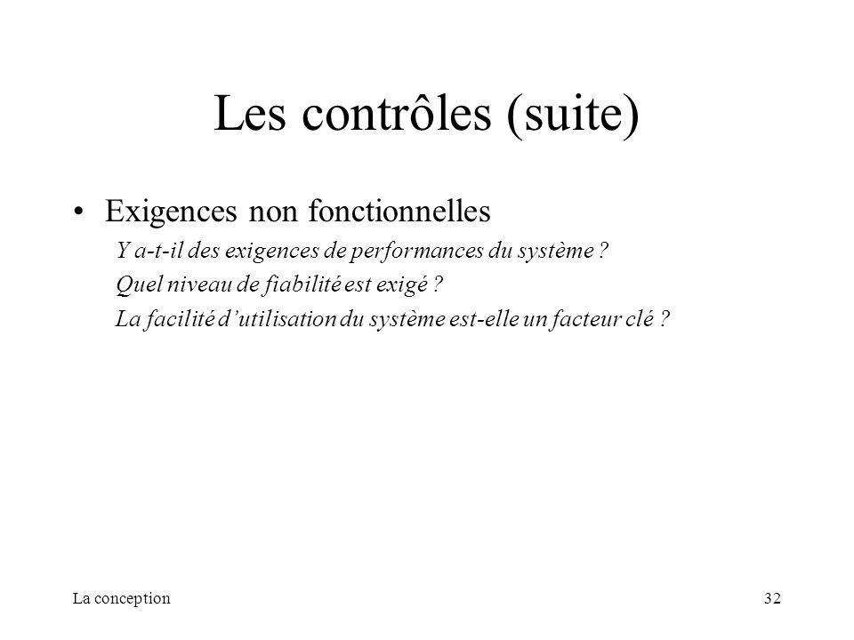 La conception32 Les contrôles (suite) Exigences non fonctionnelles Y a-t-il des exigences de performances du système ? Quel niveau de fiabilité est ex