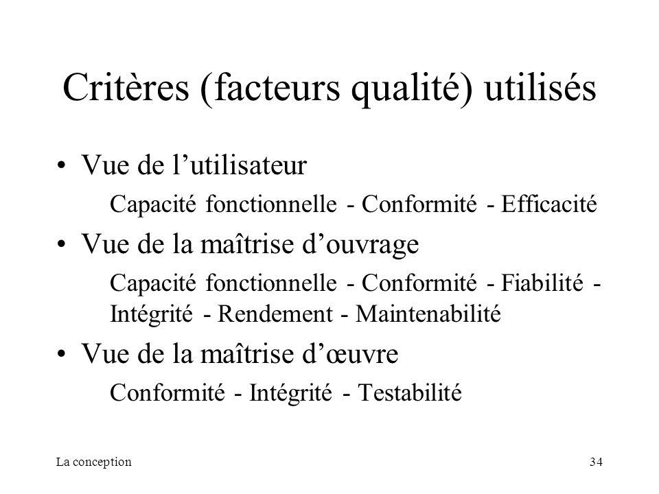 La conception34 Critères (facteurs qualité) utilisés Vue de lutilisateur Capacité fonctionnelle - Conformité - Efficacité Vue de la maîtrise douvrage