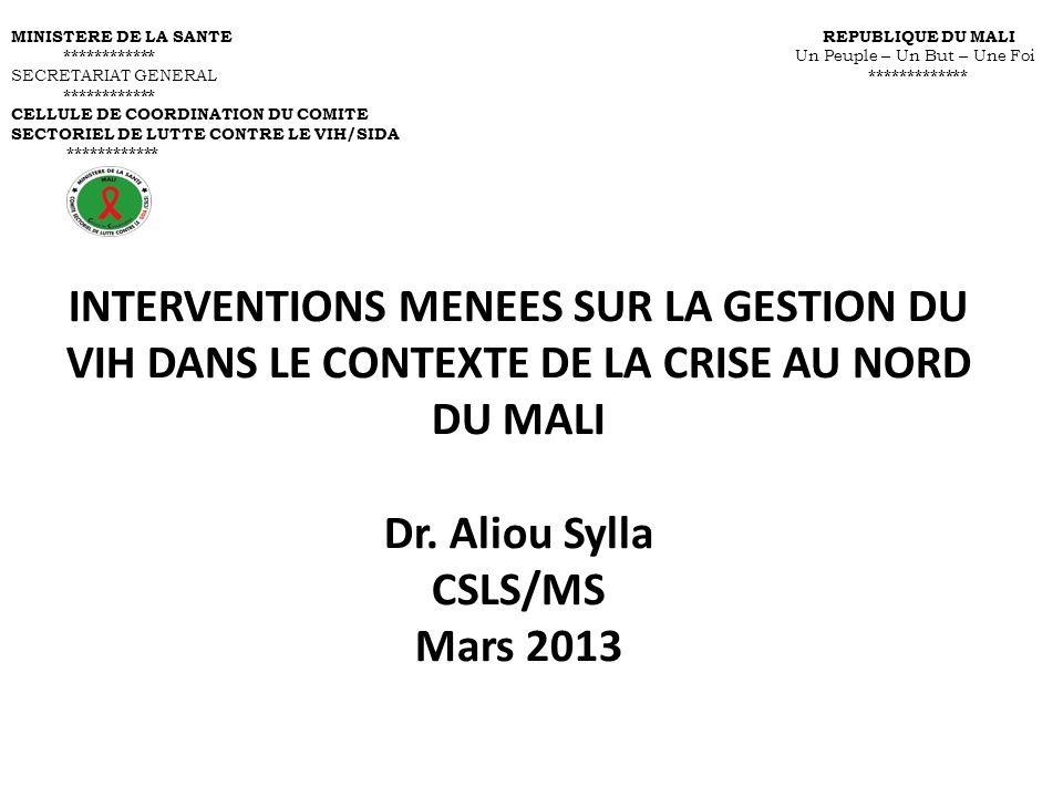 INTERVENTIONS MENEES SUR LA GESTION DU VIH DANS LE CONTEXTE DE LA CRISE AU NORD DU MALI Dr. Aliou Sylla CSLS/MS Mars 2013 MINISTERE DE LA SANTE REPUBL