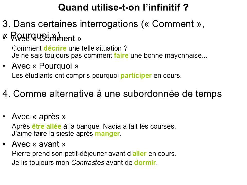 Place du verbe à linfinitif 1.