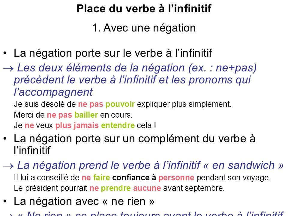 Place du verbe à linfinitif 2.