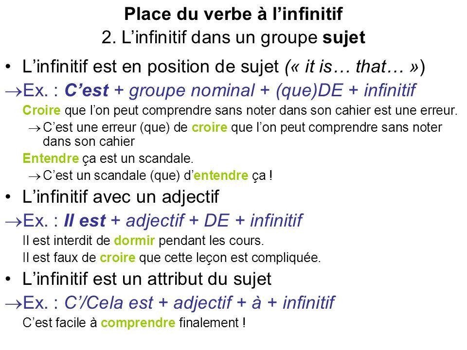 Place du verbe à linfinitif 2. Linfinitif dans un groupe sujet Linfinitif est en position de sujet (« it is… that… ») Ex. : Cest + groupe nominal + (q