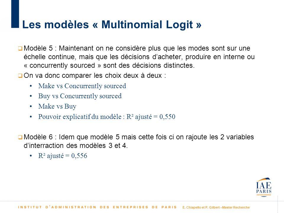 Les modèles « Multinomial Logit » Modèle 5 : Maintenant on ne considère plus que les modes sont sur une échelle continue, mais que les décisions dache