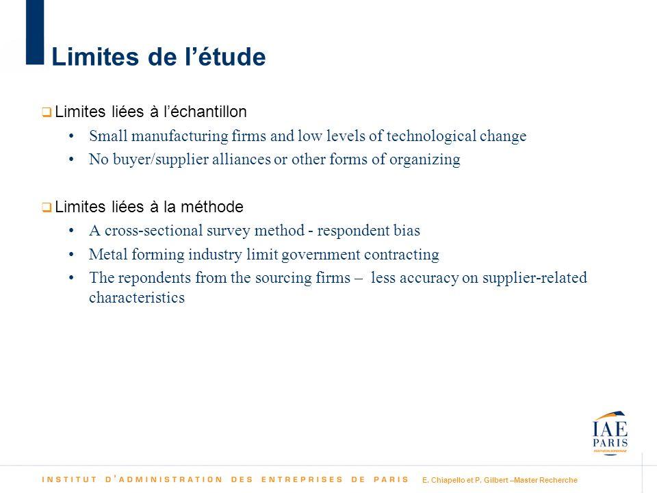 E. Chiapello et P. Gilbert –Master Recherche Limites de létude Limites liées à léchantillon Small manufacturing firms and low levels of technological