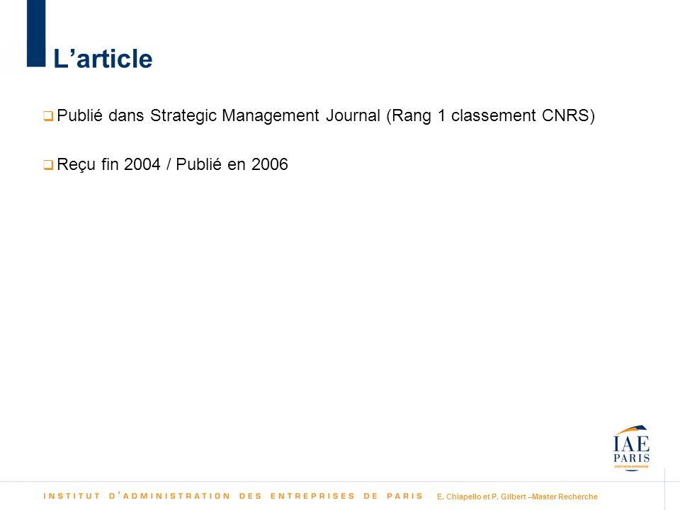 E. Chiapello et P. Gilbert –Master Recherche Larticle Publié dans Strategic Management Journal (Rang 1 classement CNRS) Reçu fin 2004 / Publié en 2006