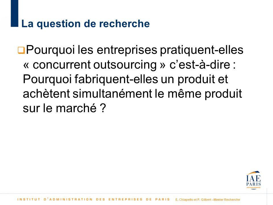E. Chiapello et P. Gilbert –Master Recherche La question de recherche Pourquoi les entreprises pratiquent-elles « concurrent outsourcing » cest-à-dire