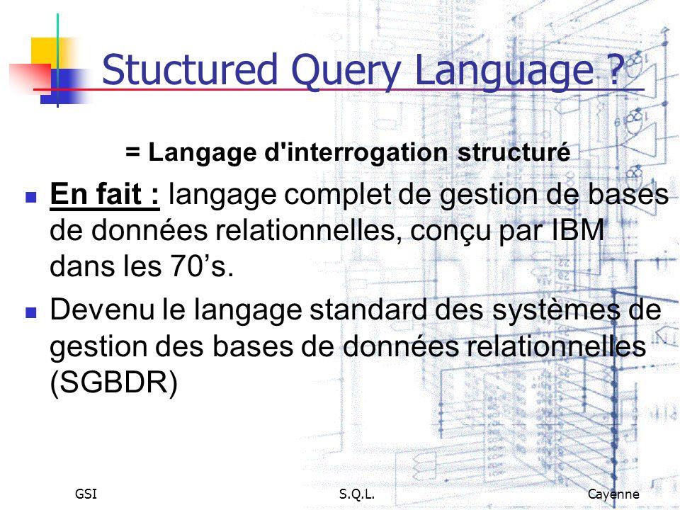 GSIS.Q.L.Cayenne Stuctured Query Language ? = Langage d'interrogation structuré En fait : langage complet de gestion de bases de données relationnelle