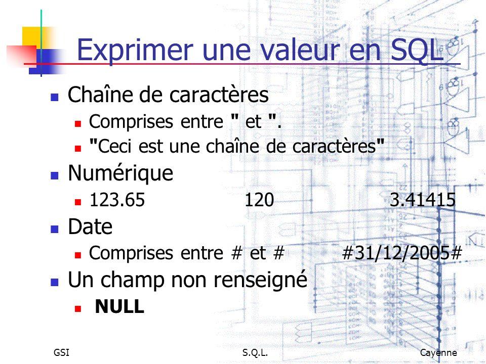 GSIS.Q.L.Cayenne Exprimer une valeur en SQL Chaîne de caractères Comprises entre