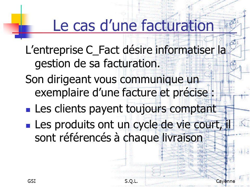 GSIS.Q.L.Cayenne Le cas dune facturation Lentreprise C_Fact désire informatiser la gestion de sa facturation. Son dirigeant vous communique un exempla