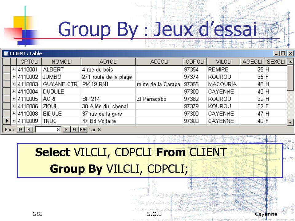GSIS.Q.L.Cayenne Group By Jeux dessai Select VILCLI, CDPCLI From CLIENT Group By VILCLI, CDPCLI;