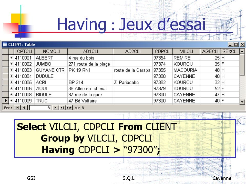 GSIS.Q.L.Cayenne Having Jeux dessai Select VILCLI, CDPCLI From CLIENT Group by VILCLI, CDPCLI Having CDPCLI > 97300;
